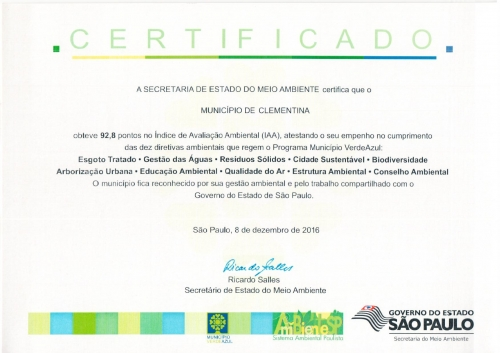 img Clementina fica em 13° lugar no ranking ambiental